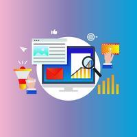 Agence de marketing numérique, promotion en ligne, campagne sur les médias sociaux, illustration vectorielle de publicité dégradé couleur