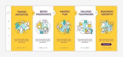 modèle vectoriel d'intégration des valeurs fondamentales de l'organisation. site Web mobile réactif avec des icônes. page Web pas à pas, écrans en 5 étapes. s'amuser, concept de couleur passion avec des illustrations linéaires