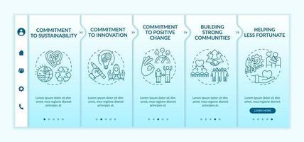 modèle vectoriel d'intégration des valeurs fondamentales de l'organisation. site Web mobile réactif avec des icônes. page Web pas à pas, écrans en 5 étapes. engagement envers le concept de changement de couleur positif avec des illustrations linéaires