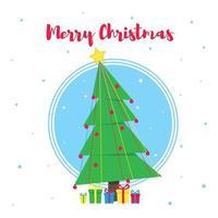 carte postale de voeux joyeux noël avec sapin de noël et illustration vectorielle de texte style plat. fête de noël et bonne année carte avec cadeaux et arbre isolé sur fond de flocons de neige. vecteur