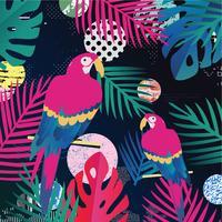 Feuilles de jungle tropicale avec fond de perroquets