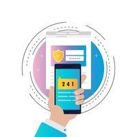 Vérification de smartphone processus illustration vectorielle dégradé de couleur