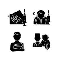 icônes de glyphe noir d'inoculation de vaccin sur un espace blanc. faux passeport touristique vacciné. peur de l'aiguille. liste prioritaire. soins de santé et médecine. symboles de silhouette. illustration vectorielle isolée vecteur