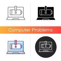 l'ordinateur ne charge pas l'icône. batterie d'ordinateur portable cassée. problème d'approvisionnement en électricité. service de réparation. symptôme de problèmes d'ordinateur portable. styles de couleurs linéaires noir et rvb. illustrations vectorielles isolées vecteur
