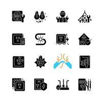 service d'électricien icônes de glyphe noir sur un espace blanc. changement d'ampoule. fonctionnant avec des appareils électriques, des équipements. dommages de l'appareil. symboles de silhouette. illustration vectorielle isolée vecteur