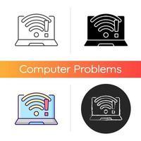 wi fi ne fonctionne pas icône. problème de connexion sans fil, signal faible. pas d'Internet. réparer le wifi. technologie de communication, problèmes d'ordinateur portable. styles de couleurs linéaires noir et rvb. illustrations vectorielles isolées vecteur