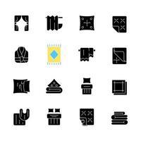 produits textiles icônes de glyphe noir sur un espace blanc. tenue d'intérieur. chambre à coucher, décoration d'intérieur de cuisine. linges de maison. article matériel domestique. symboles de silhouette. illustration vectorielle isolée vecteur