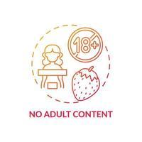 aucune icône de concept de contenu pour adultes. illustration de la ligne mince de l'idée de sécurité des médias sociaux. protection des enfants contre l'accès aux sites Web pour adultes. surfer sur internet sans crainte. dessin de couleur rvb contour isolé vecteur