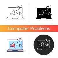 l'ordinateur fait l'icône de bruits étranges. son fort de l'ordinateur portable. symptôme de problème de système. panne de logiciel sur pc. problèmes d'ordinateur portable. styles de couleurs linéaires noir et rvb. illustrations vectorielles isolées vecteur