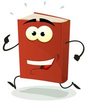 Heureux personnage de livre rouge en cours d'exécution vecteur