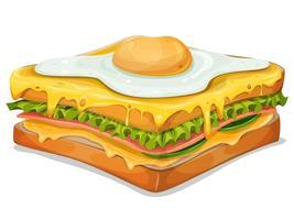 Sandwich français avec oeuf au plat vecteur