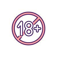 icône de couleur rvb bloquant le contenu pour adultes. contrôle parental. limiter l'accès au matériel réservé aux adultes. restriction potentielle de contenu préjudiciable. filtrage des informations inappropriées. illustration vectorielle isolée vecteur