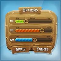 Panneau de contrôle de dessin animé en bois pour le jeu de l'interface utilisateur vecteur
