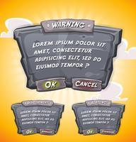 Panneau d'accord en pierre de dessin animé pour le jeu de l'interface utilisateur vecteur