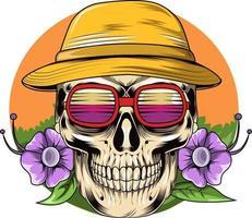 18. été avec des fleurs de beauté, un chapeau et un vecteur de lunettes