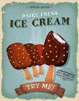 Affiche grunge et crème glacée vintage sur bâton en bois