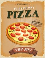 Affiche vintage de pizza de pepperoni de grunge