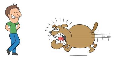 dessin animé chien en colère et énorme court pour mordre l'homme mais l'homme n'a pas peur illustration vectorielle vecteur
