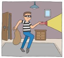 homme de voleur de dessin animé dans la maison la nuit et marche avec une illustration vectorielle de lampe de poche vecteur