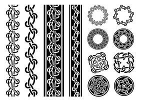 Ensemble de bordures, motifs et bagues celtiques vecteur