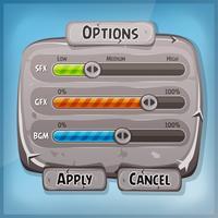 Panneau de commande de dessin animé en pierre pour le jeu de l'interface utilisateur vecteur