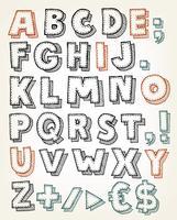 Éléments ABC dessinés à la main vecteur