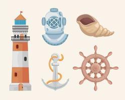 cinq icônes marines vecteur