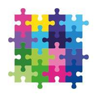 icône de jouets de pièces de jeu de puzzle vecteur