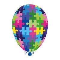 hélium de ballon de la journée mondiale de l'autisme avec des pièces de puzzle vecteur
