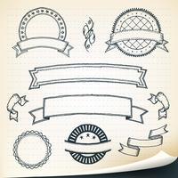 Doodle bannières et éléments de conception vecteur