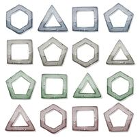 Ensemble de carrés de pierre, triangles et autres formes
