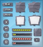Pierre de dessin animé et icônes de rock pour le jeu de l'interface utilisateur vecteur