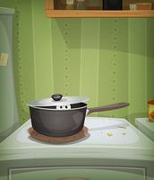 Scène de cuisine, souris à l'intérieur du poêle vecteur