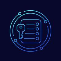 icône de vecteur de ligne à emporter clé