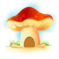 champignon maison dans jardin vecteur