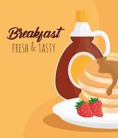 Crêpes de petit déjeuner avec conception de vecteur de bouteille de sirop