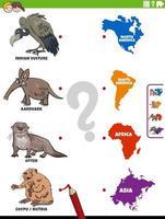 faire correspondre les espèces animales et les continents tâche éducative vecteur