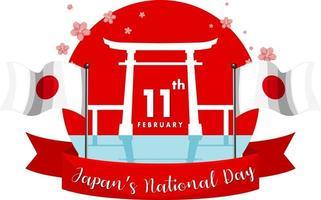 bannière de la fête nationale du japon avec porte torii et drapeau du japon vecteur
