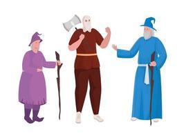 sorcière bourreau de conte de fées et conception de vecteur de dessin animé magicien
