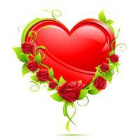 Coeur avec roses vecteur