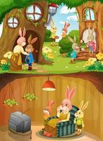 famille de lapin en sous-sol avec surface au sol de la scène de jardin vecteur