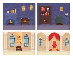 Les chambres du roi et du magicien de conte de fées définissent la conception vectorielle vecteur