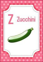 flashcard de l'alphabet avec la lettre z pour les courgettes vecteur