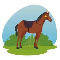 dessin animé de cheval avec dessin vectoriel d'arbustes