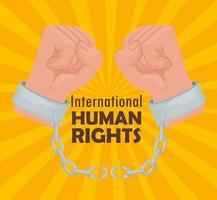 affiche internationale de lettrage des droits de l'homme avec des mains qui brisent les menottes vecteur