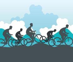 groupe silhouette de cyclistes en championnat vecteur
