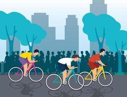 groupe de cyclistes en championnat vecteur