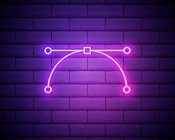 icône de courbe de Bézier néon rougeoyant isolé sur fond de mur de briques. icône de l'outil stylo. illustration vectorielle vecteur