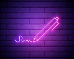 autographe de néons. illustration vivante de la signature. logo vectoriel moderne, bannière, bouclier, dessin de signature personnelle. publicité de nuit sur le fond d'un mur de briques.