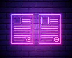 CV de l'icône de l'employé. éléments de hr et de chasse à la chaleur dans les icônes de style néon. icône simple pour sites Web, conception de sites Web, application mobile, graphiques d'informations isolés sur fond de mur de briques vecteur